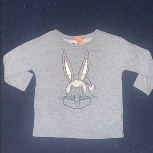 Gap Bugs Bunny Girls Holiday Santa Shirt